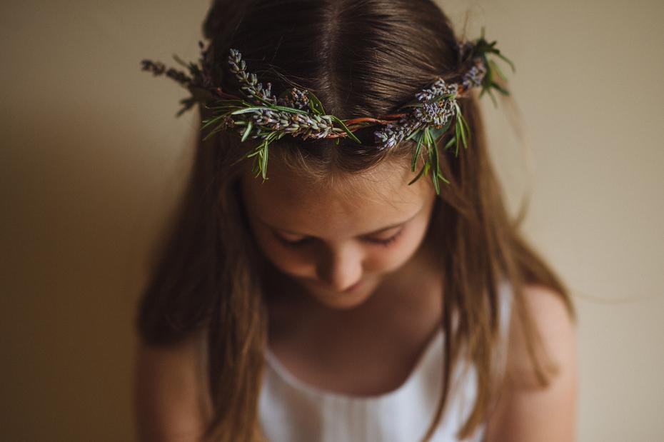 Lavendar Crown on Flower Girl