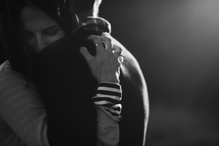 Black and White Couple Embrace